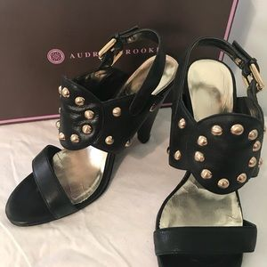 Audrey Brooke black with gold studs heels.